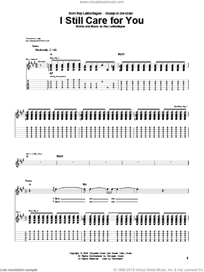 I Still Care For You sheet music for guitar (tablature) by Ray LaMontagne. Score Image Preview.