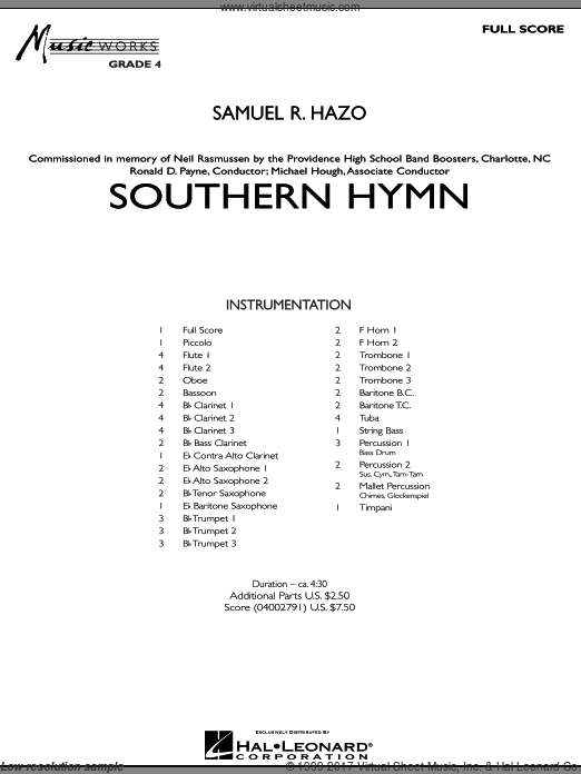 Southern Hymn (COMPLETE) sheet music for concert band by Samuel R. Hazo