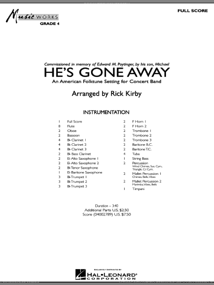 He's Gone Away (An American Folktune Setting for Concert Band) (COMPLETE) sheet music for concert band by Rick Kirby, intermediate skill level