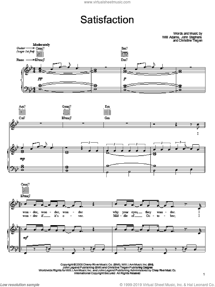 Satisfaction sheet music for voice, piano or guitar by John Legend, Christine Tiegen, John Stephens and Will Adams, intermediate skill level