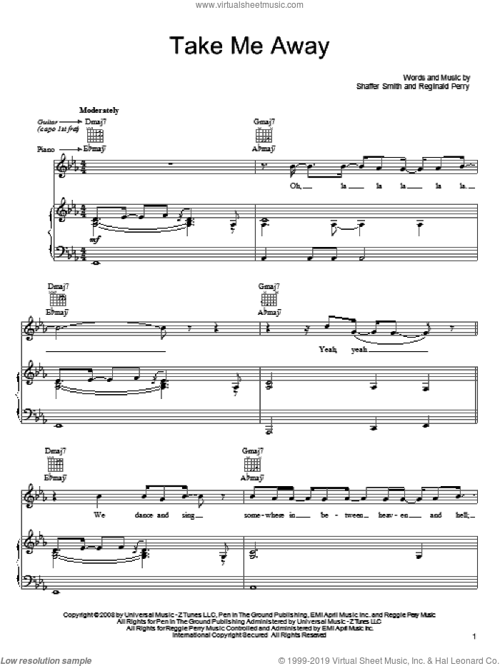 Take Me Away sheet music for voice, piano or guitar by Shaffer Smith and John Legend. Score Image Preview.