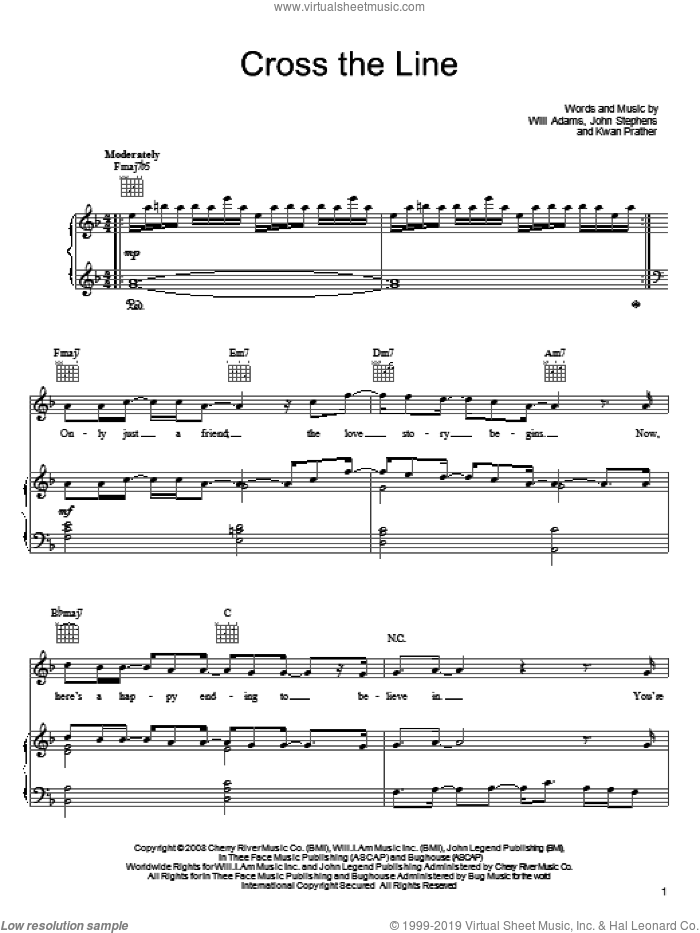 Cross The Line sheet music for voice, piano or guitar by John Legend, John Stephens, Kawan Prather and Will Adams, intermediate skill level
