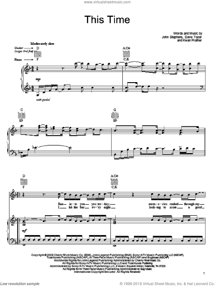 This Time sheet music for voice, piano or guitar by Kawan Prather, John Legend and John Stephens