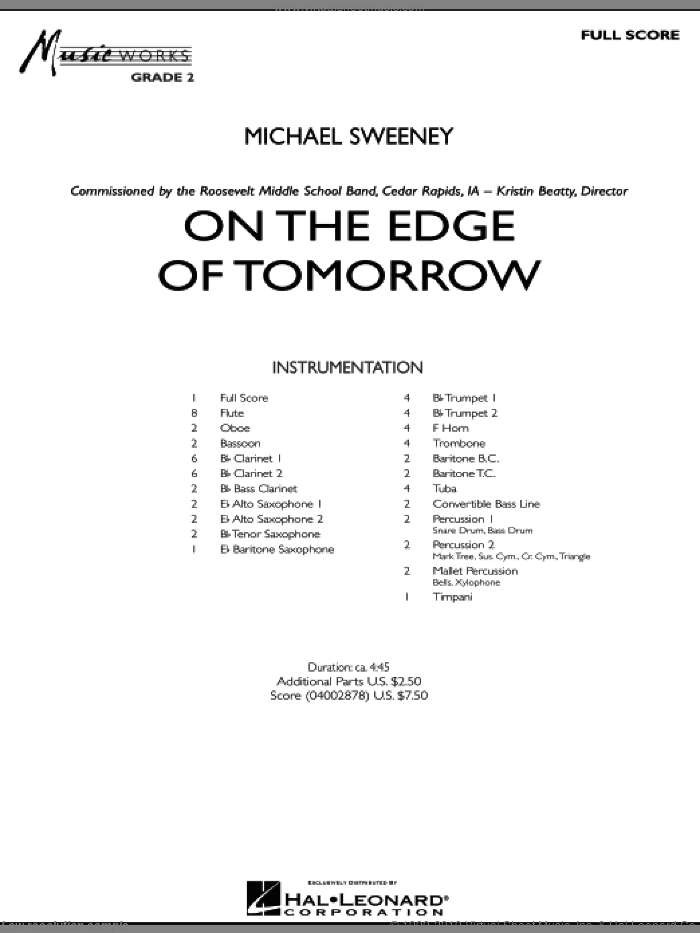 On the Edge of Tomorrow sheet music for concert band (full score) by Michael Sweeney