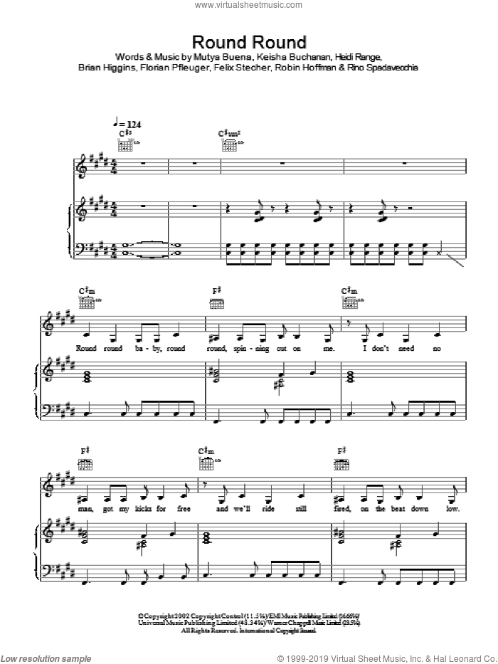 Round Round sheet music for voice, piano or guitar by Sugababes, intermediate skill level