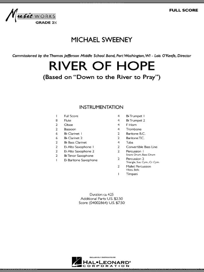 Sweeney - River of Hope sheet music (complete collection) for concert band