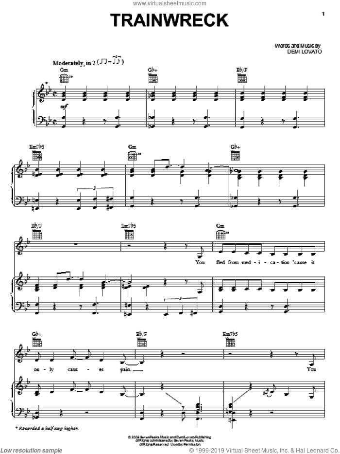 Trainwreck sheet music for voice, piano or guitar by Demi Lovato. Score Image Preview.