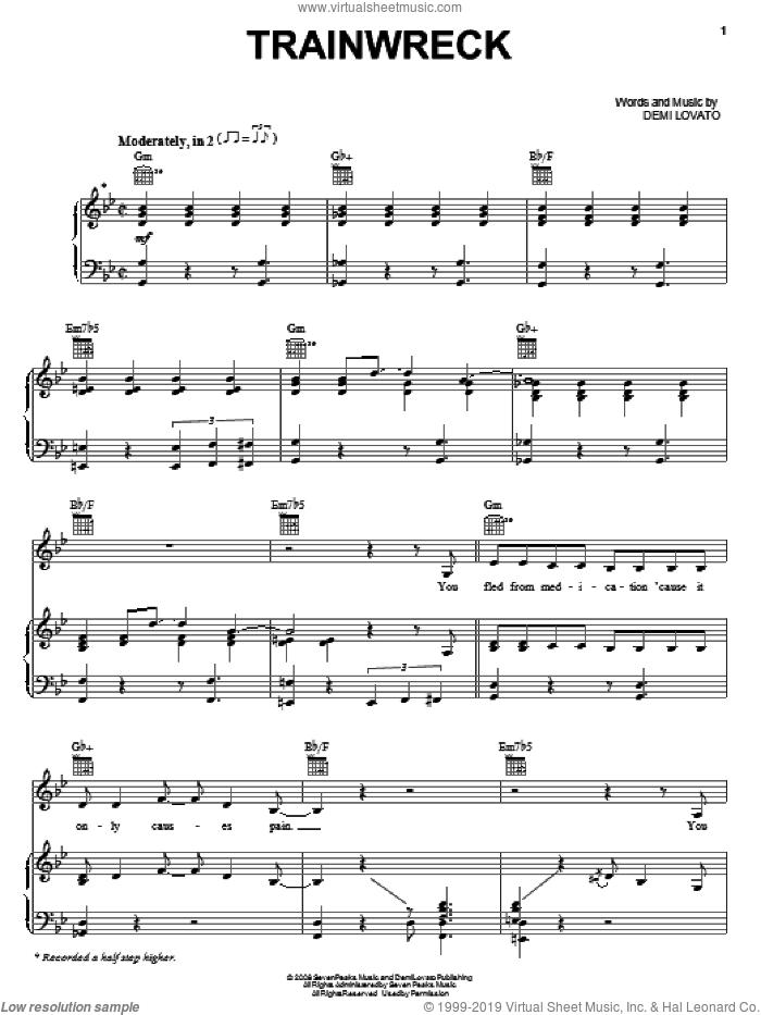 Trainwreck sheet music for voice, piano or guitar by Demi Lovato, intermediate skill level