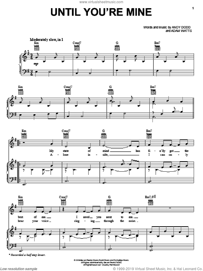 Until You're Mine sheet music for voice, piano or guitar by Andy Dodd, Demi Lovato and Adam Watts. Score Image Preview.