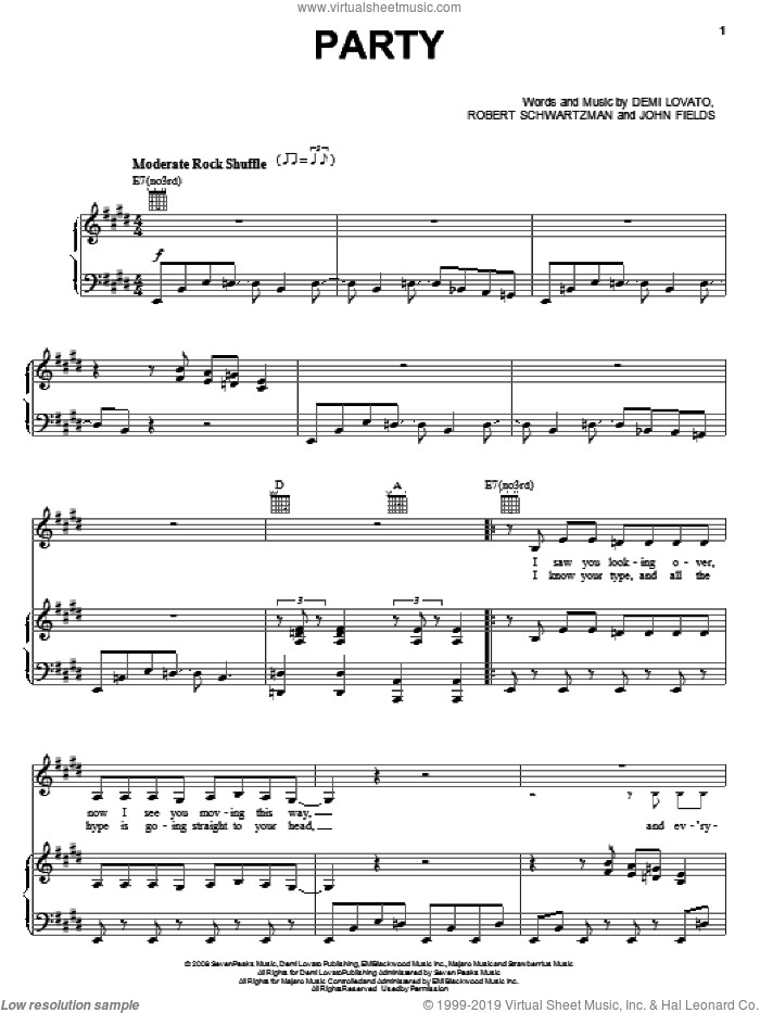 Party sheet music for voice, piano or guitar by Demi Lovato. Score Image Preview.