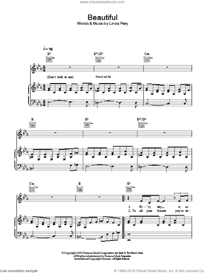 Beautiful sheet music for voice, piano or guitar by Christina Aguilera