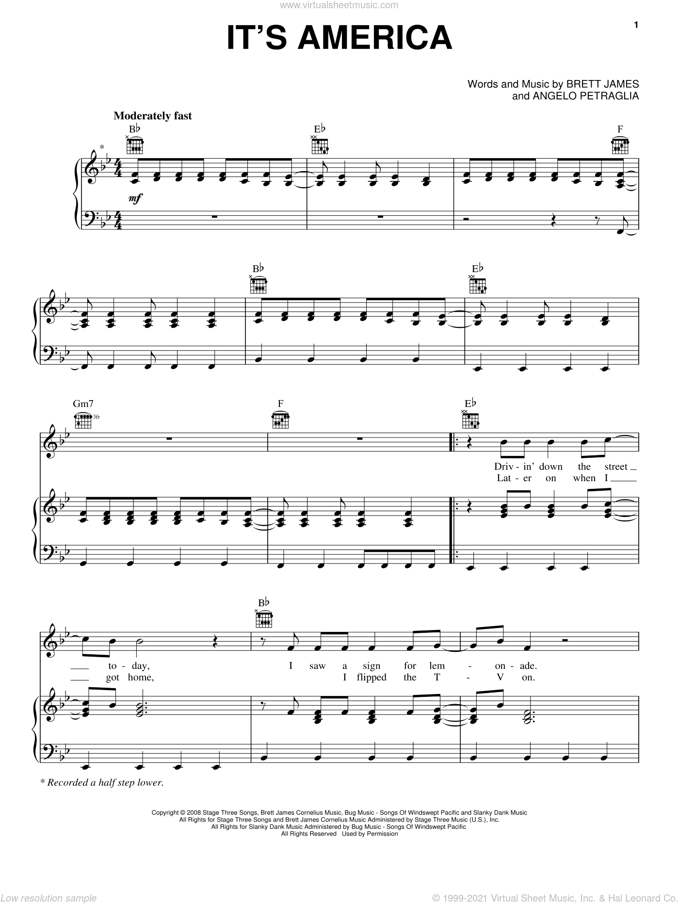 It's America sheet music for voice, piano or guitar by Rodney Atkins and Brett James. Score Image Preview.