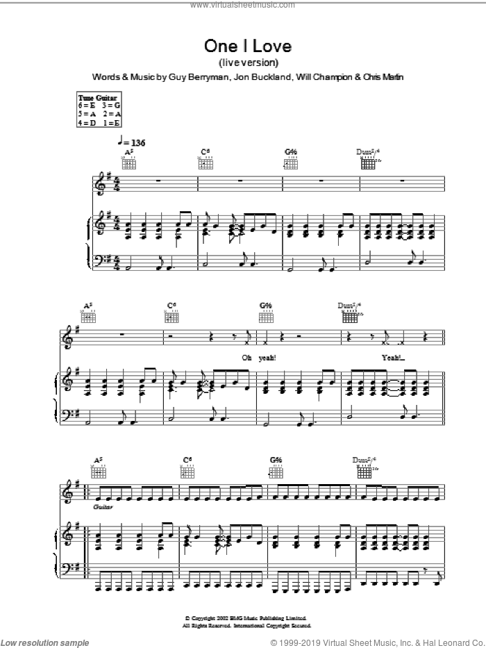 One I Love (live version) sheet music for voice, piano or guitar by Coldplay, intermediate. Score Image Preview.