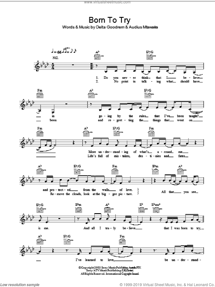 Born To Try sheet music for voice and other instruments (fake book) by Delta Goodrem. Score Image Preview.