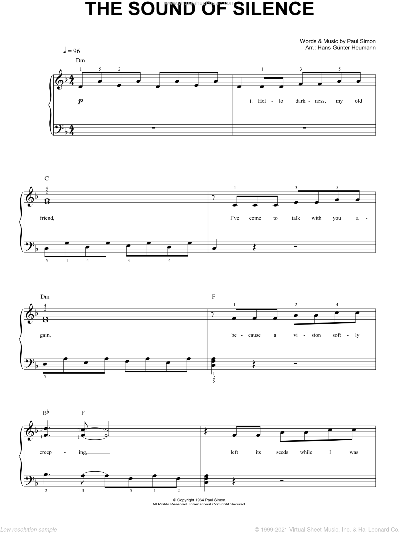 Garfunkel - The Sound Of Silence sheet music (easy) for piano solo