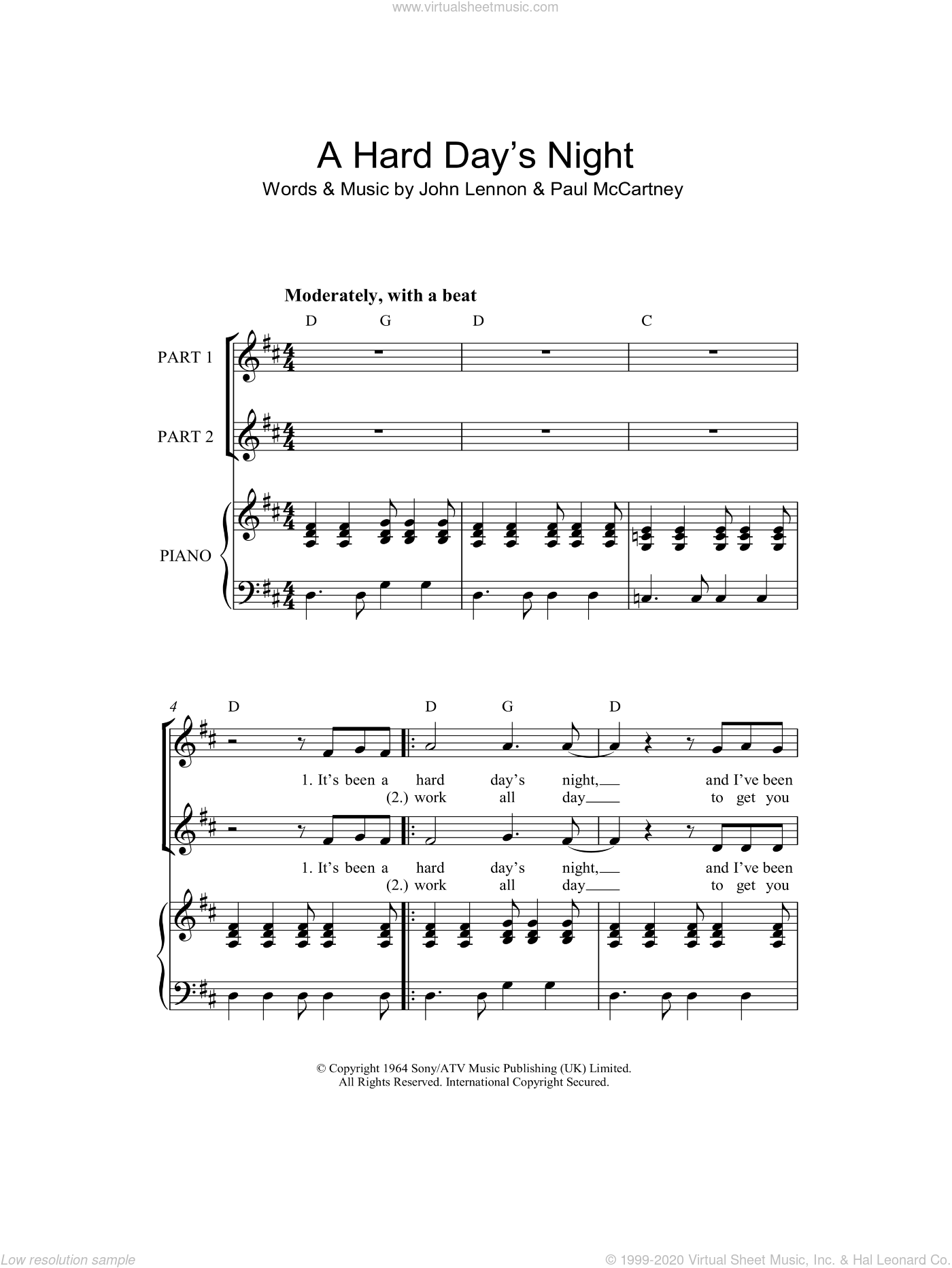 A Hard Day's Night sheet music for choir and piano by John Lennon