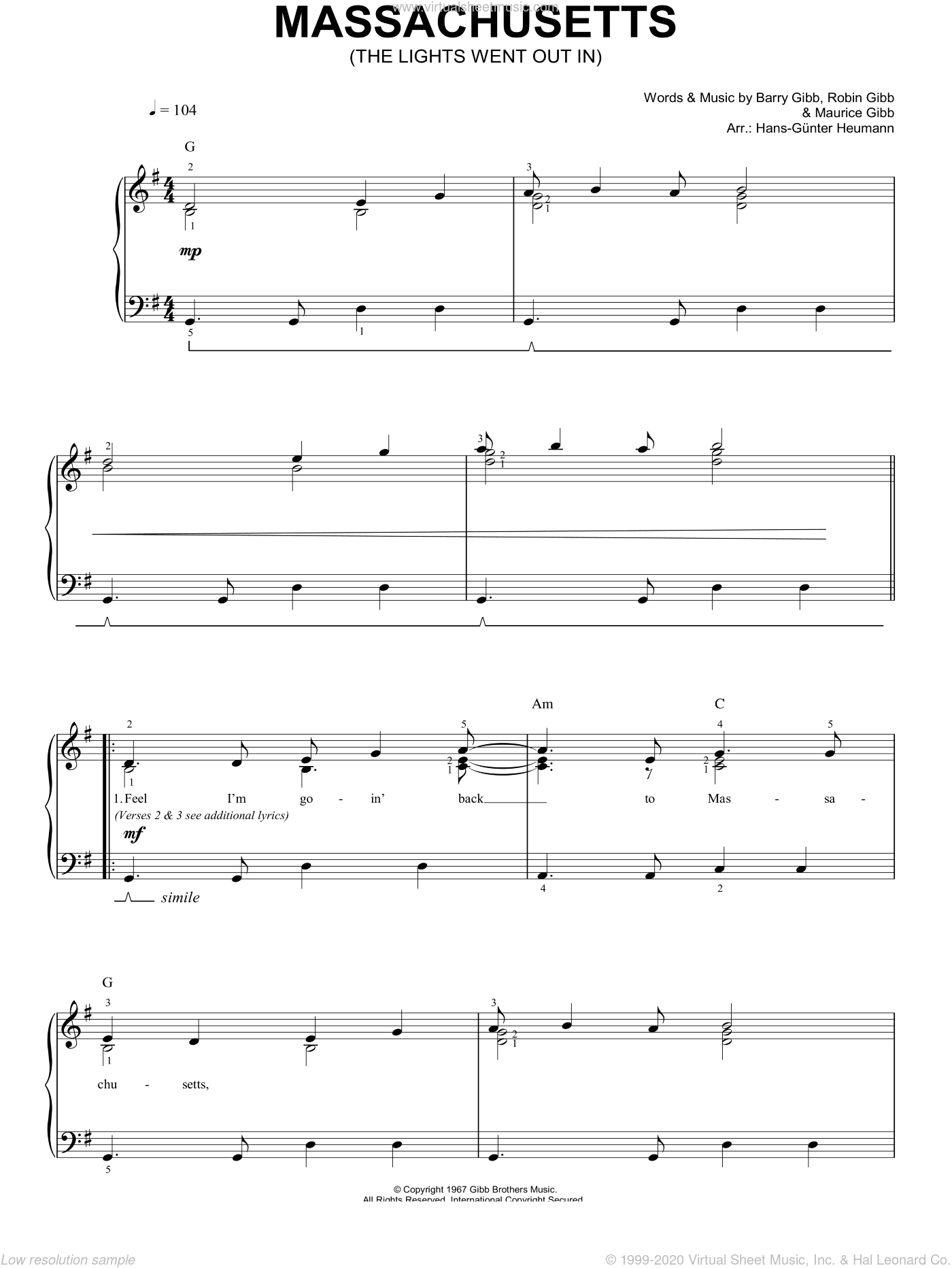 Massachusetts sheet music for piano solo (chords) by Barry Gibb