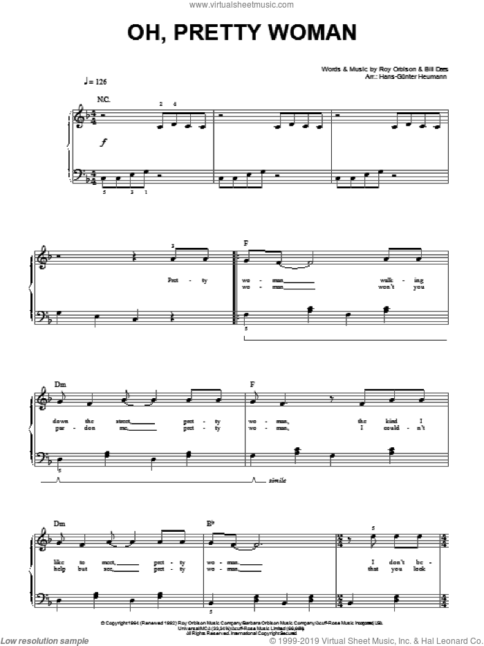 Oh, Pretty Woman sheet music for piano solo by Roy Orbison, Hans-Gunter Heumann and Bill Dees, easy skill level