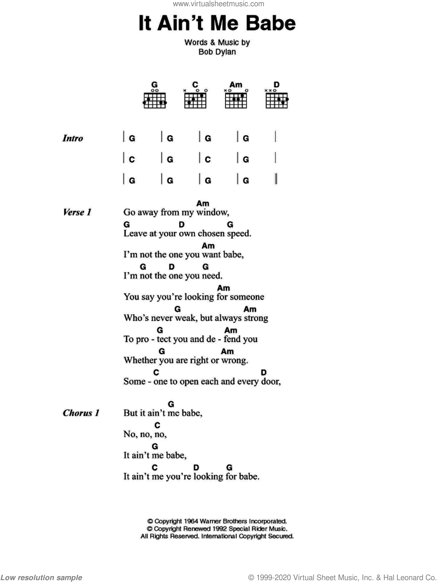 It Ain't Me Babe sheet music for guitar (chords) by Johnny Cash and Bob Dylan, intermediate. Score Image Preview.