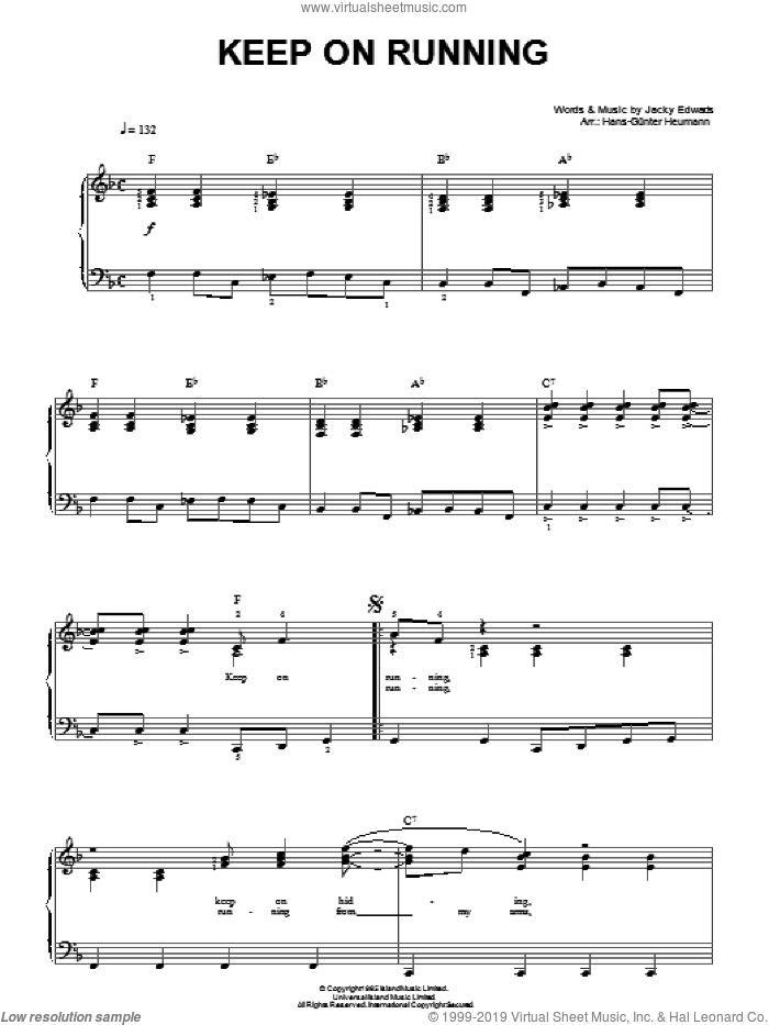 Keep On Running sheet music for piano solo by Jackie Edwards and Hans-Gunter Heumann. Score Image Preview.