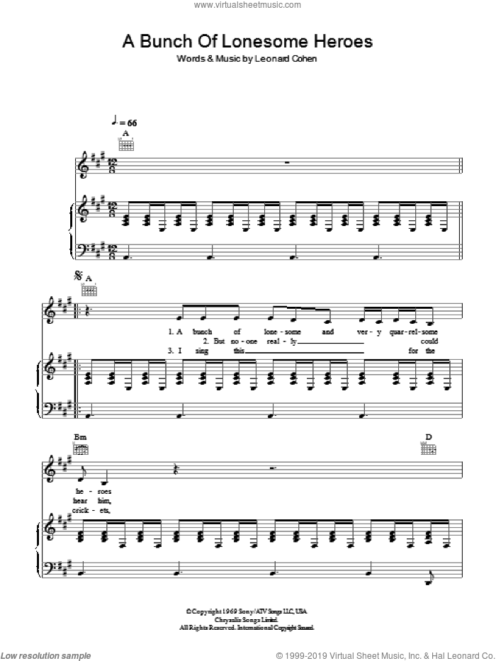A Bunch Of Lonesome Heroes sheet music for voice, piano or guitar by Leonard Cohen, intermediate skill level
