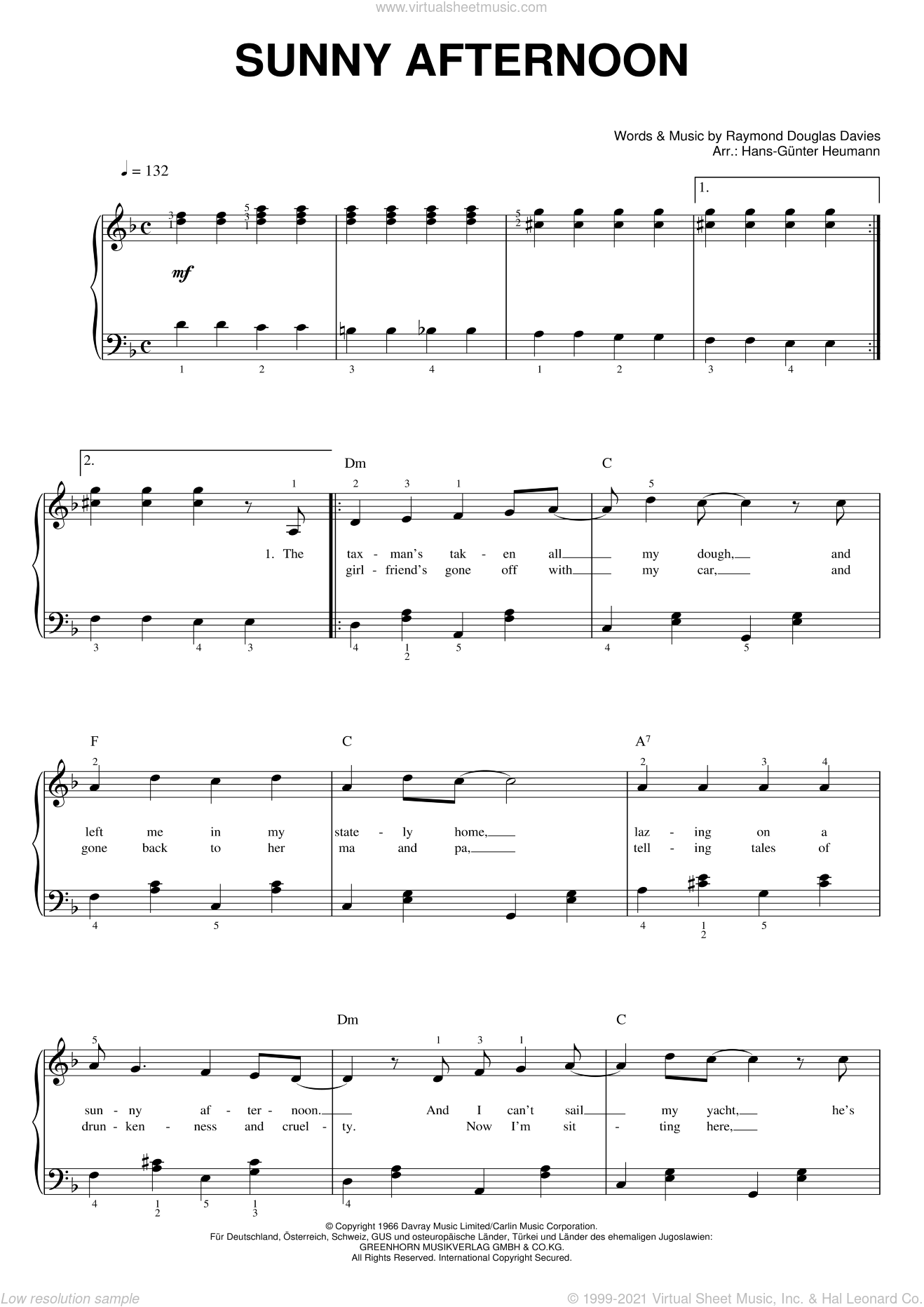Sunny Afternoon sheet music for piano solo by Ray Davies and The Kinks. Score Image Preview.