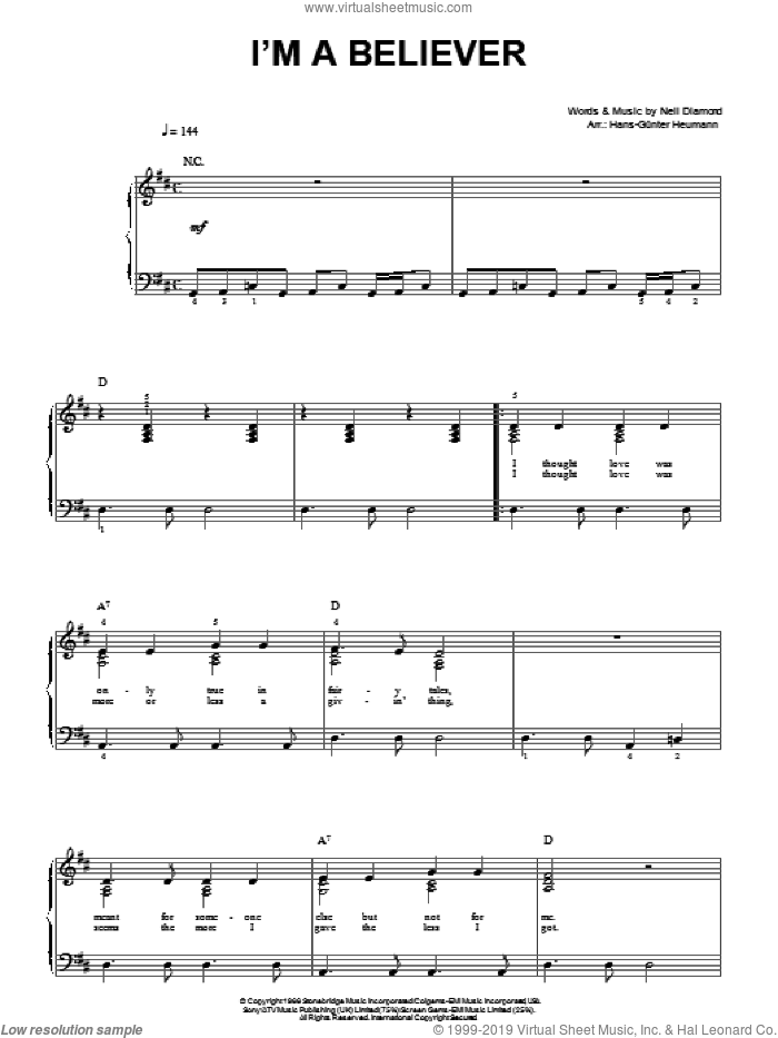 I'm A Believer sheet music for piano solo by The Monkees, Hans-Gunter Heumann and Neil Diamond. Score Image Preview.