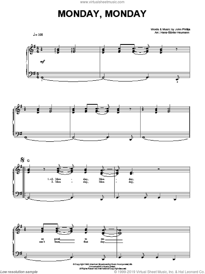 Monday, Monday sheet music for piano solo by John Phillips, Hans-Gunter Heumann and The Mamas & The Papas. Score Image Preview.