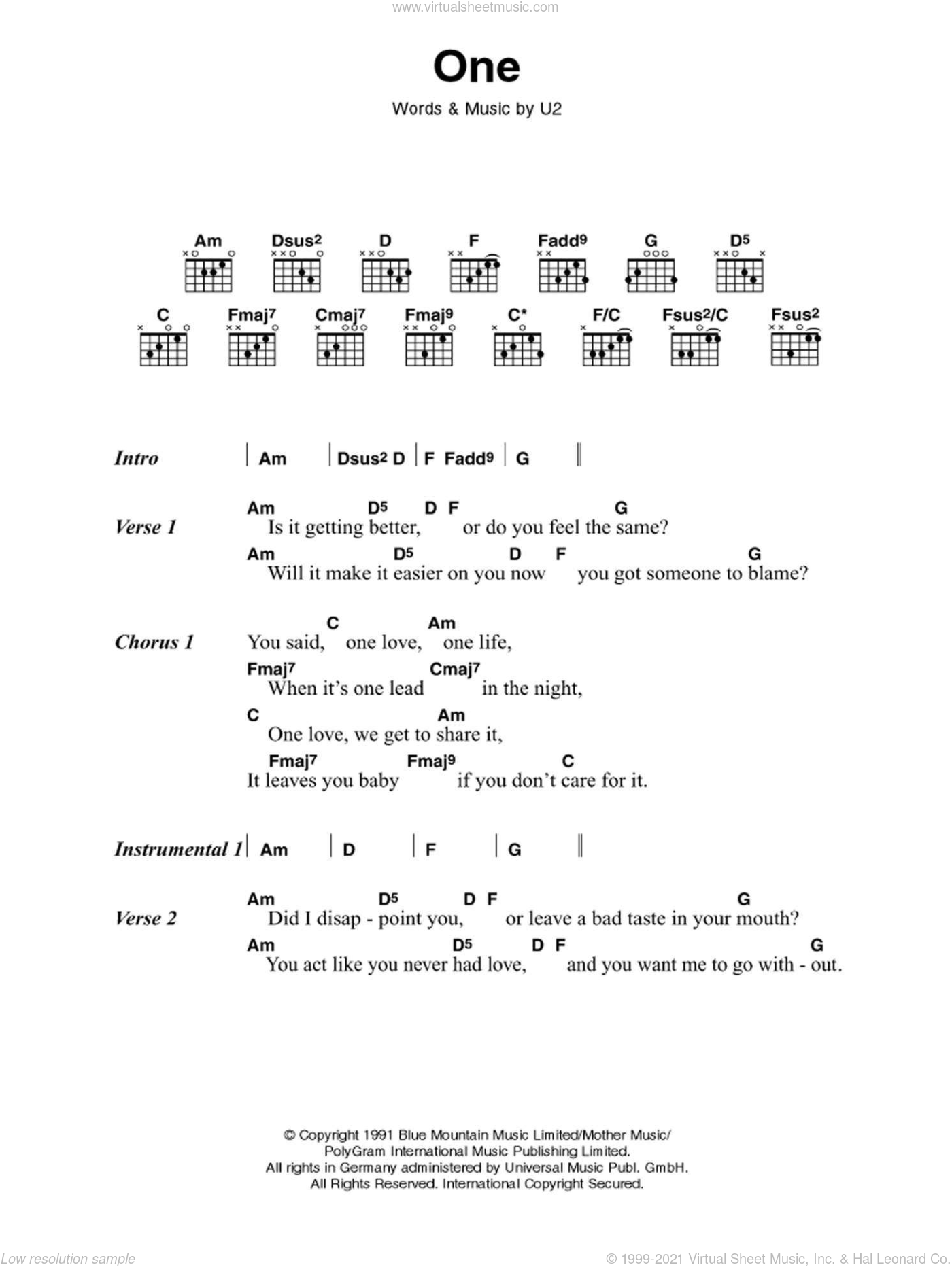 One sheet music for guitar (chords) by U2