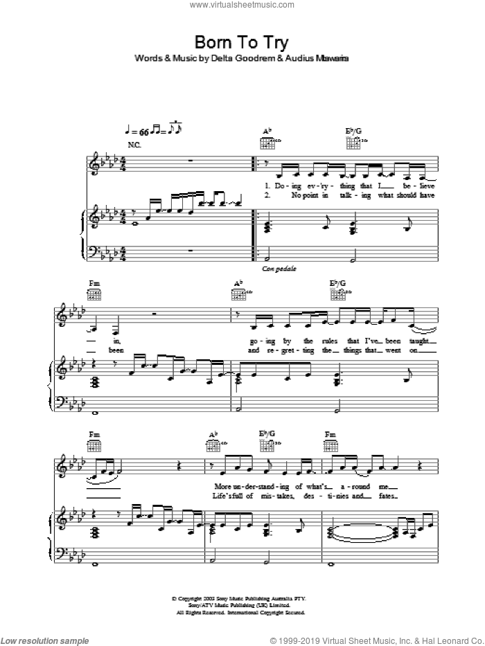 Born To Try sheet music for voice, piano or guitar by Delta Goodrem. Score Image Preview.