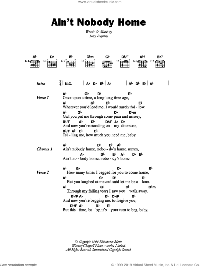 Ain't Nobody Home sheet music for guitar (chords) by B.B. King and Jerry Ragovoy, intermediate skill level