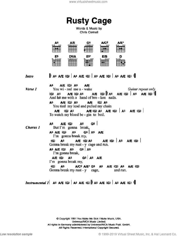Rusty Cage sheet music for guitar (chords) by Chris Cornell and Johnny Cash. Score Image Preview.