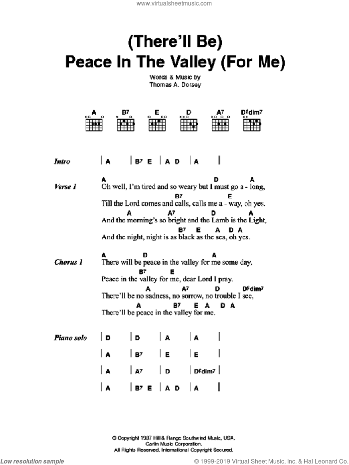 (There'll Be) Peace In The Valley (For Me) sheet music for guitar (chords) by Tommy Dorsey