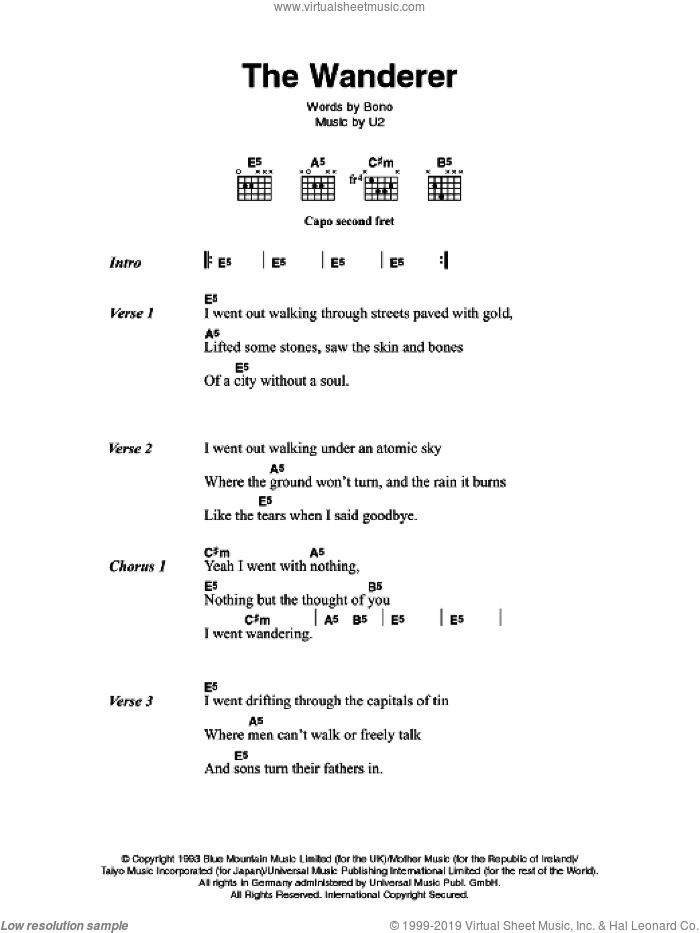 The Wanderer sheet music for guitar (chords, lyrics, melody) by U2