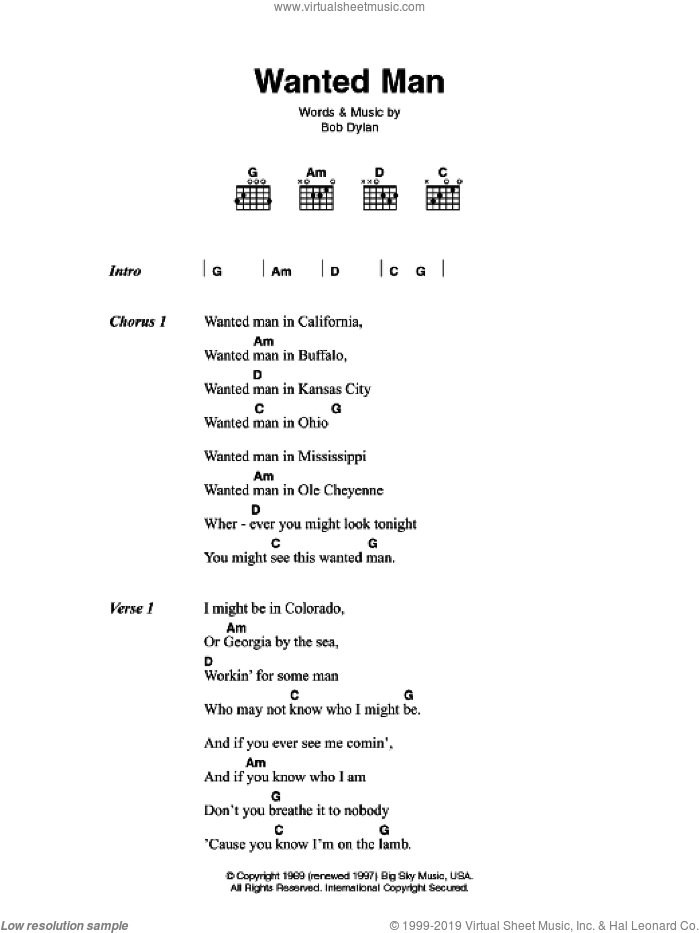 Wanted Man sheet music for guitar (chords) by Johnny Cash and Bob Dylan, intermediate. Score Image Preview.