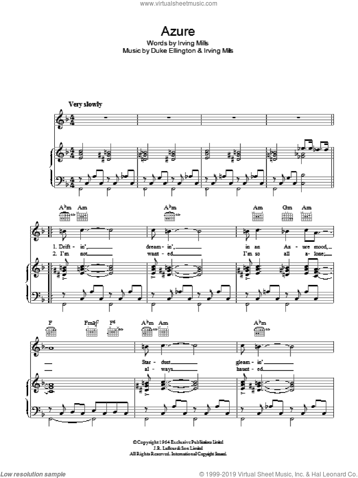 Azure sheet music for voice, piano or guitar by Irving Mills