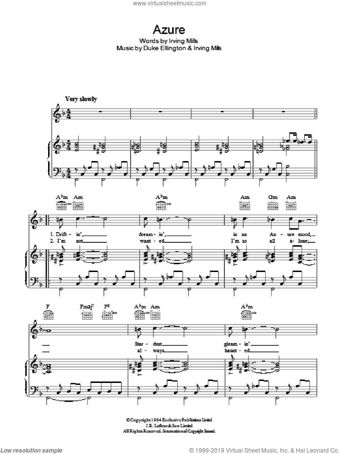 Azure sheet music for voice, piano or guitar by Duke Ellington, Ella  Fitzgerald, Ella - Fitzgerald and Irving Mills, intermediate skill level