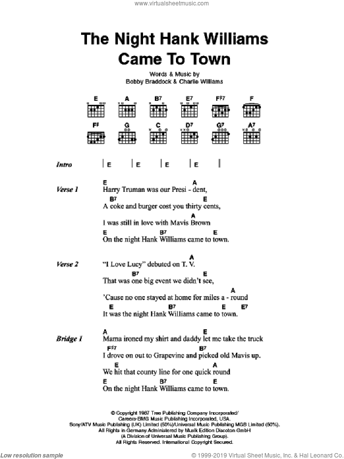 The Night Hank Williams Came To Town sheet music for guitar (chords) by Bobby Braddock