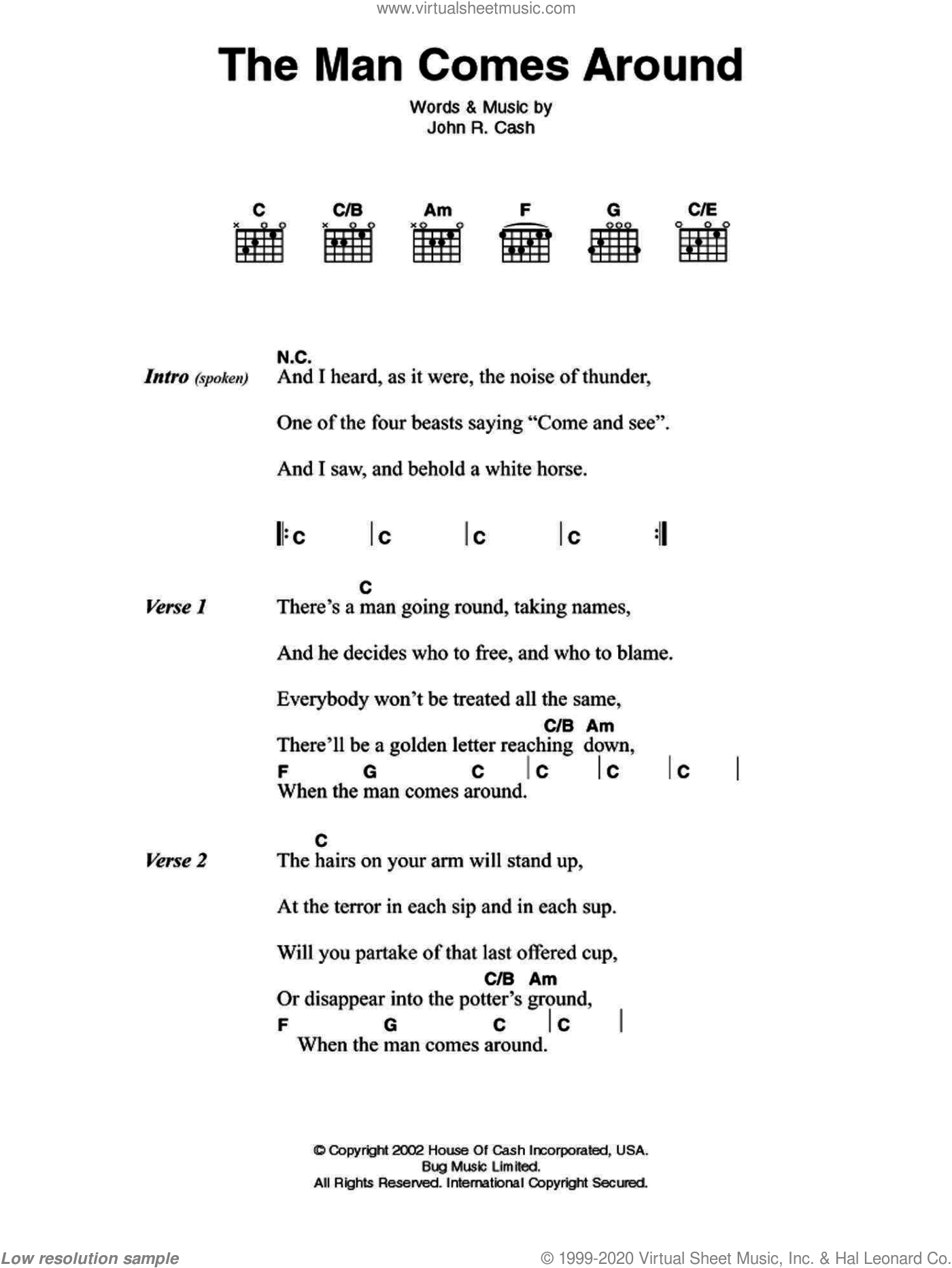 The Man Comes Around sheet music for guitar (chords) by Johnny Cash, intermediate. Score Image Preview.