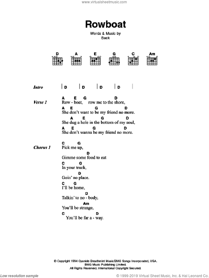 Rowboat sheet music for guitar (chords) by Beck Hansen and Johnny Cash. Score Image Preview.