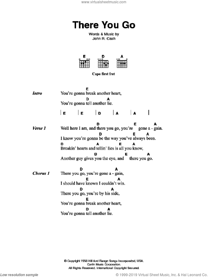 There You Go sheet music for guitar (chords) by Johnny Cash. Score Image Preview.