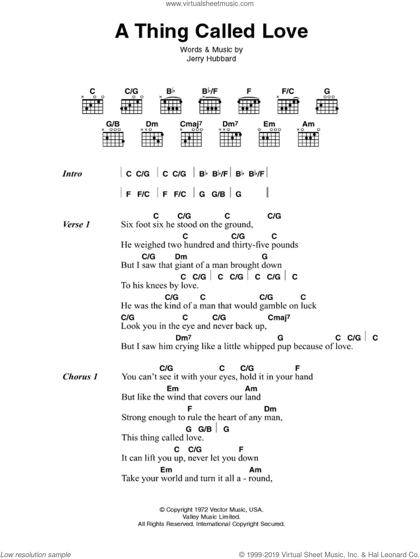 Cash - A Thing Called Love sheet music for guitar (chords) [PDF]