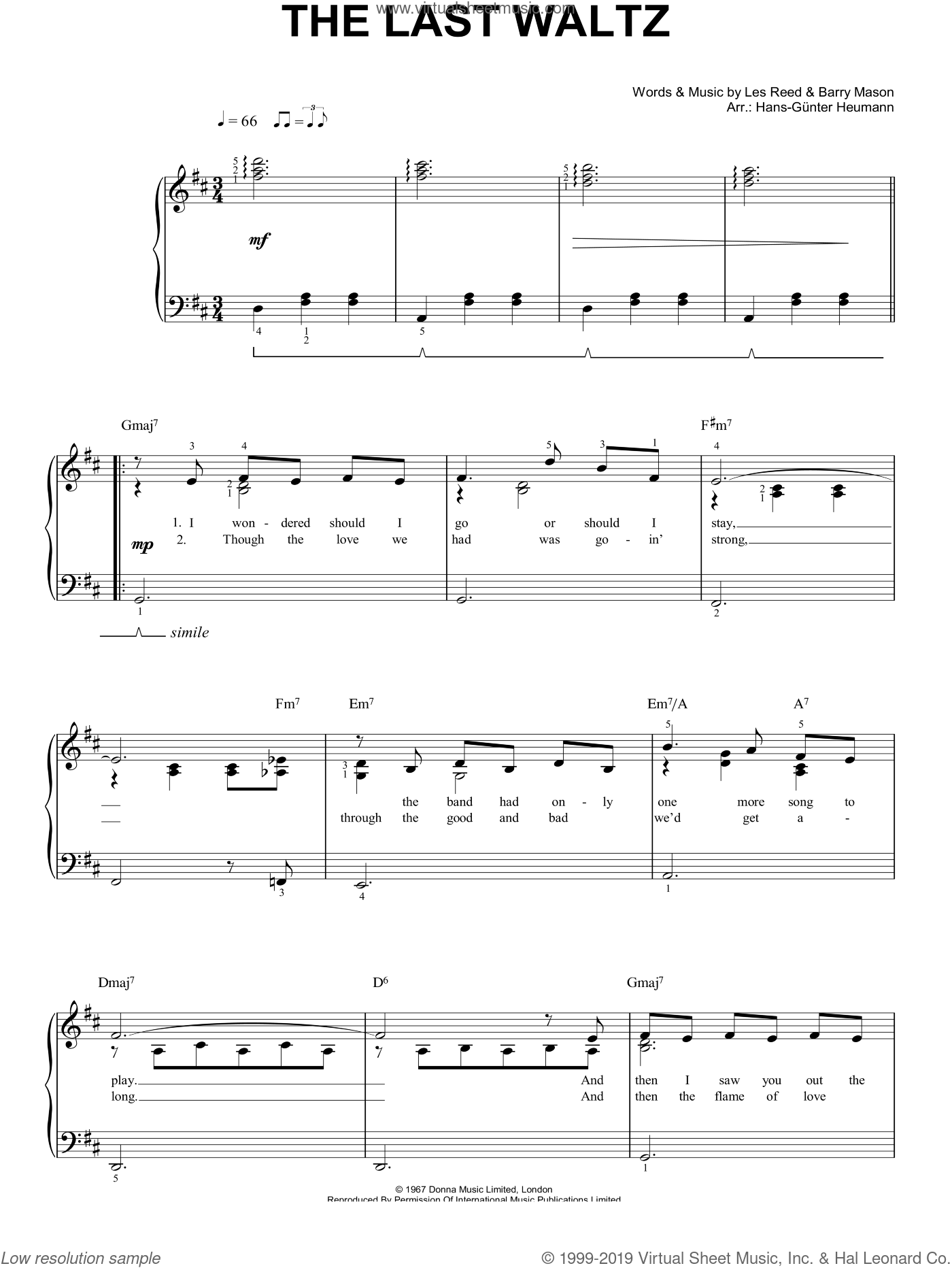 The Last Waltz sheet music for piano solo (chords) by Barry Mason