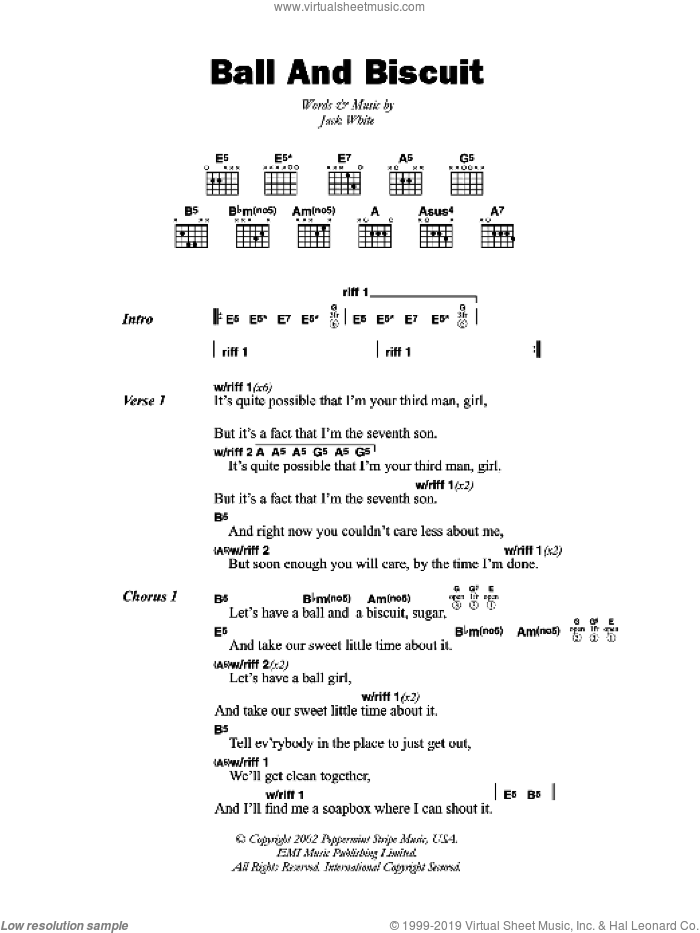 Stripes - Ball And Biscuit sheet music for guitar (chords) [PDF]
