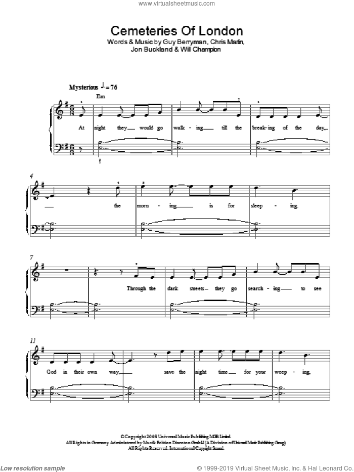Cemeteries Of London sheet music for piano solo by Chris Martin, Coldplay, Guy Berryman, Jon Buckland and Will Champion. Score Image Preview.