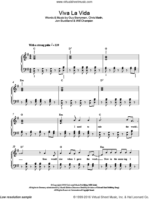 Viva La Vida sheet music for piano solo by Chris Martin, Coldplay, Guy Berryman, Jon Buckland and Will Champion. Score Image Preview.