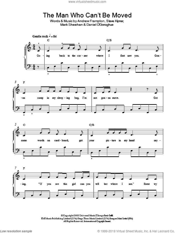 The Man Who Can't Be Moved sheet music for piano solo by The Script, Andrew Frampton, Mark Sheehan and Steve Kipner, easy skill level