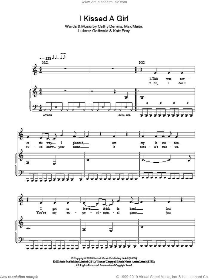 I Kissed A Girl sheet music for voice, piano or guitar by Katy Perry and Cathy Dennis, intermediate. Score Image Preview.