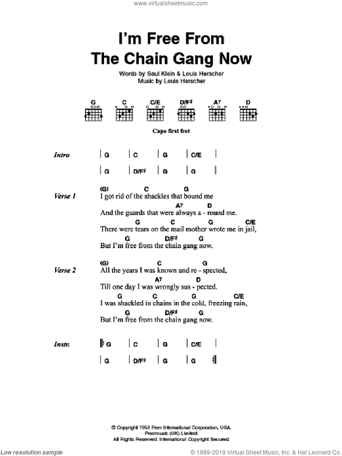 I'm Free From The Chain Gang Now sheet music for guitar (chords) by Louis Herscher, Johnny Cash and Saul Klein. Score Image Preview.