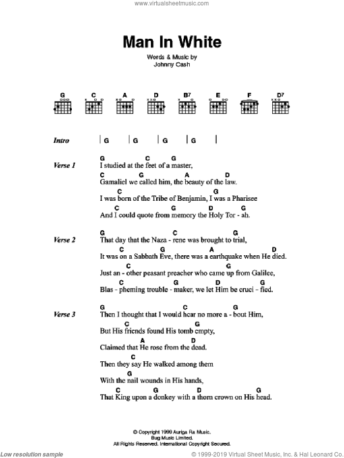 Man In White sheet music for guitar (chords) by Johnny Cash, intermediate guitar (chords). Score Image Preview.